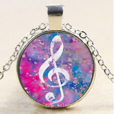Photo Cabochon Glass Silver Chain Pendant Necklace(Pink Music Note