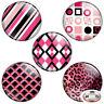 """Pink & Black Color 1.25"""" Pinback Button BADGE SET Novelty Pins 32 mm"""