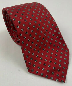 "SCULLY & SCULLY vintage red floral foulard silk neck tie 54.5"" x 3 1/8"""
