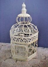 """Vintage VICTORIAN 15"""" WHITE WIRE BIRD CAGE Shabby Chic/Farmhouse Bird or Floral"""