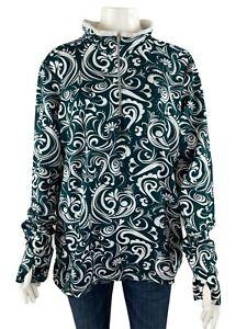 Athleta 1/4 Zip Pullover Jacket 2X Blue Paisley Thumb Holes Long Sleeve