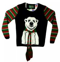 Ugly Christmas Sweater Womens Medium Polar Bear Scarf Black Red Green Striped
