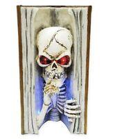 Halloween Light Up Skull Inside A Spell Book LED Eyes LARGE Decor Creepy Scary