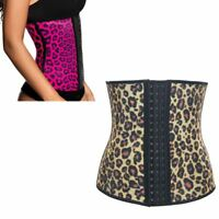 LEOPARD WAIST TRAINER Womens Corset Underbust Body Shaper Cincher Pink / Gold