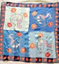 """Laura Ashley Square Blue pink tan flowers 31"""" Scarf"""