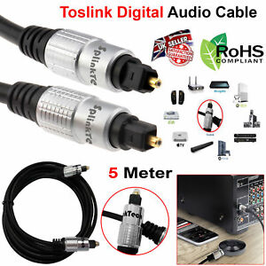 5m Pure TOS Link TOSLink Optical Digital Audio Cable HQ 6mm Lead SPDIF DTS Metre