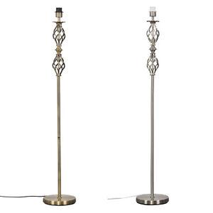 Traditional Twist Floor Standard Lamp Base Antique Brass / Brushed Chrome Light