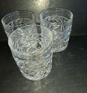 Lovely Sturdy Cut Glass Whiskey Tumblers x 3