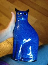 VINTAGE CUTE CERAMIC BLUE AND WHITE SPECKLED CAT FIGURINE WITH FREE SHIPPING