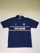 """NEW UMBRO ENGLAND NAVY TOP WITH COLLAR - SIZE LARGE (41/43"""",104/109CM)"""