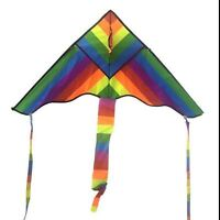 2x Rainbow Triangle Kite Outdoor Children Fun Sports Kids Toys Gift Air Fly