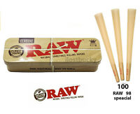 Raw Classic 98 special size Pre Rolled Cone(100 Pack)+1 raw Caddy Container