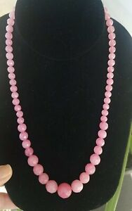 """Faceted Round Pink Peruvian Opal Beaded Necklace, Rhodium, 20"""""""