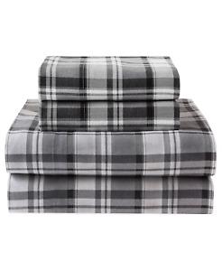 Winter Nights Four Piece Sheet Set Hutton Plaid Cotton Flannel Gray Queen New