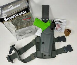 """Safariland® 6005 SLS Tactical OD Green RH Leg Holster, QD Strap, 1911 5"""" w/ RAIL"""