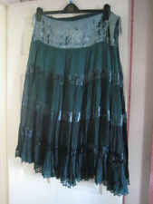 Cotton Patternless Plus Size Tiered Skirts for Women