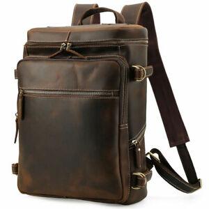 """Men Leather Backpack Day Pack Travel Bag 16"""" Laptop Case School Bag Rucksack"""