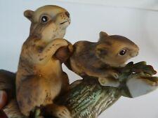 Ceramic Hand Painted Squirrels On A Log - Precious