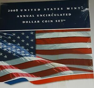 2008 United States Mint Annual Uncirculated Dollar Coin Set With W Silver Eagle