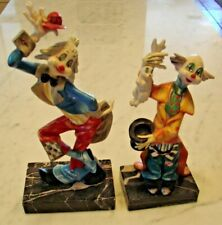 Depose Vintage Clowns #942 & #945, Genuine Carrara Marble Base made in Italy