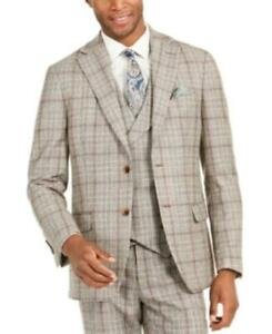 MSRP$425 Tallia Orange Slim-Fit Brown Plaid Flannel Suit Jacket ONLY Size 42 Reg