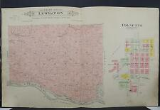 Wisconsin Columbia County Map 1916 Township of Lewiston City of Poynette K19#99