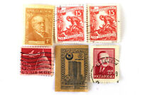 Lot Of Six Vintage Postage Stamps From Yugoslavia, Poland, Russia