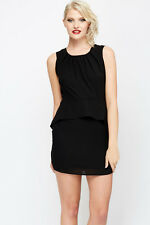 Womens Pleated Neck Peplum Dress Black and Coral