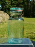 Antique VTG Quart Lightning Putnam 150 Jar - Blue Aqua - Glass Lid & Wire Bail