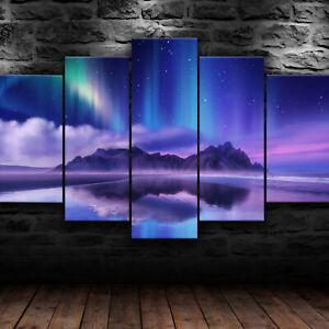 Aurora Island Nature 5 Piece Canvas Wall Art Landscape Print Home Decor