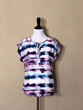 Calvin Klein Multicolored Tye Dyed Peasant Blouse Top. SIZE S. **NWT**