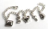 925 ECHT SILBER *** 5-Uhren Bettelarmband Armband Armkette 19cm, verstellbar