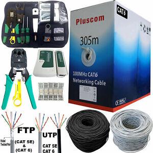 305M RJ45 Cat6 FTP UTP Ethernet Network OUTDOOR 1000Mbps Gigabit Roll Cable Lot