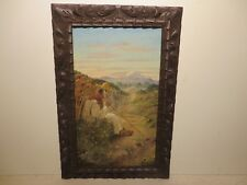 """20x12 org. 1934 oil painting on wood by Daniel Morales of """"Mexican on the Road"""""""