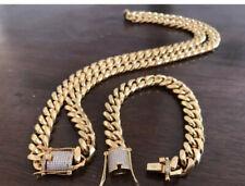 Mens Miami Cuban Link Bracelet & Chain Set 18k Gold Plated 12mm Diamond Clasp