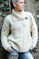 $130 Carraig Donn size XS Aran Irish Handmade Merino Wool Sweater Cardigan