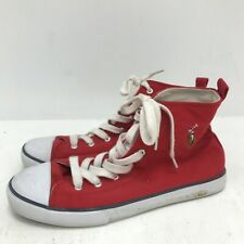 Ralph Lauren High Top Trainers UK 6.5 Red Canvas Casual Lace Up Unisex 241351