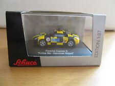 """Schuco Porsche Cayman S: """"Follow Me - Hannover  Airport"""", 1:87, neu und in OVP"""