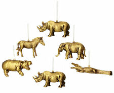 6 x Gisela Graham Assorted Hanging Gold Safari Animals Christmas Decorations