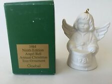 1984 Goebel Annual Christmas Angel Bell Tree Ornament White 9th Edition