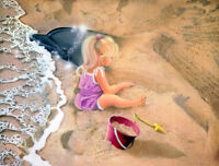 Little girl at beach playing in the sand Oil painting printed on canvas L1572