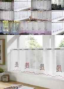 (AS) PLAIN CAFE CURTAINS VOILE PANELS COLOURED WINDOW LACE SLOT TOP FRUITS CHECK