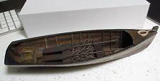 "Rustic red white blue 11 5/8""  Wood ROW BOAT Skif Dory CANOE model rowboat skiff"