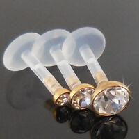 6 or 8mm 2,3,4mm Earring Bioplast Gold Tone Triple Forward Helix Clear CZ Tragus