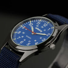 INFANTRY Mens Quartz Wrist Watch Luminous Fashion Ultra Thin Sport Blue Nylon