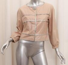 FENDI $3870 Womens Nude Beige Leather Crackle Long-Sleeve Jacket 42/6 S NEW NWT