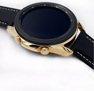 CUSTOM 18K Gold Plated 45mm Samsung Galaxy 3 With Black Leather Band - Bluetooth