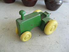 Unique Vintage Green and Yellow Wood Tractor Toy