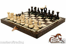 """Gorgeous 30cm """"THE KINGDOM"""" Wooden Chess Set. Hand Crafted Pieces & Chessboard!"""