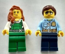 LEGO Female Police Officer City Minifigure Lot of 2 Cop robber bad girl blue